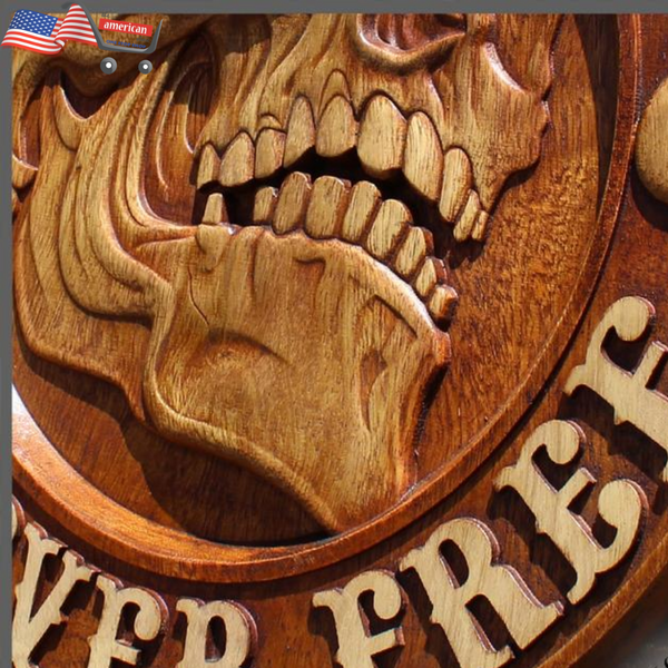 Harley Davidson Logo Bike American Patriot Motorcycle Wooden Carved Coat of Arms Wood Picture Plaques Decor Wall Hanging Gift Home Decor
