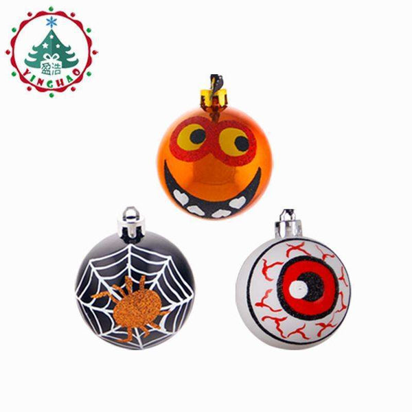 6pcs Halloween Accessories Party Spider Haunted House Hanging Red eye lob ball Party Supplies Halloween Decor Christmas balls