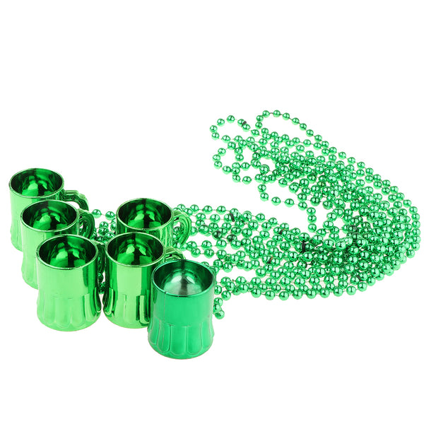 6ps Happy St Patricks Day Shot Beer Cup On Bead Necklace Chain Accessories