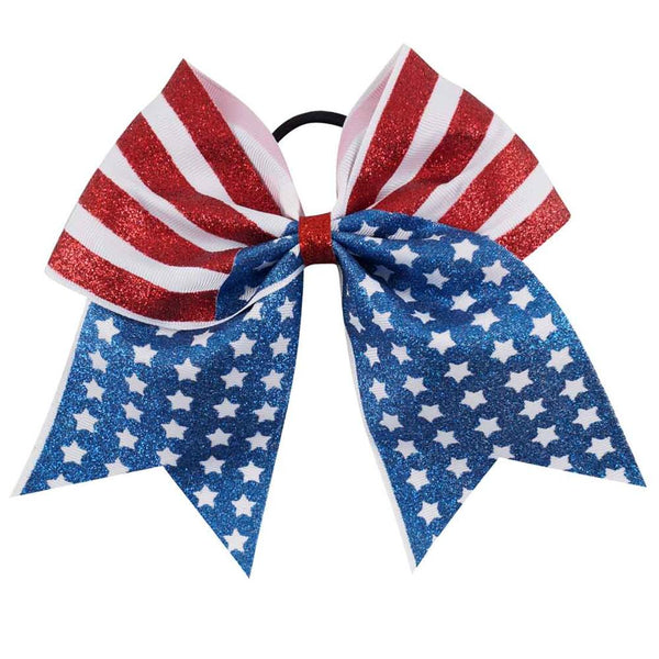 7'' Print Glitter 4th Of July Cheer Bow With Elastic Hair Band For Kid Girl American Flag Hair Bow Cheerleading Hair Accessories