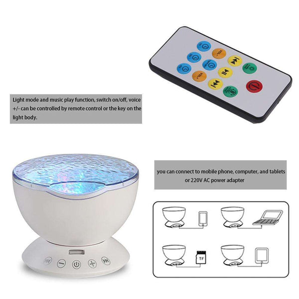 7 Colors Remote Control USB Ocean Night Light Projector & Mini Portable Speaker Starry Sky Projector Ocean Sea Waves LED Projector Romantic Relaxing Lamp Novelty Lamp Nightlight Illusion For Baby Children