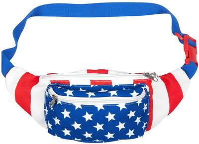 Patriotic USA Fanny Pack with American Flag Cape, Suspenders & Drink Holder