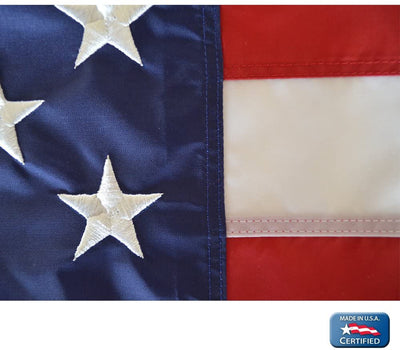 Annin Flagmakers Model 2270 American Flag 5x8 ft. Nylon SolarGuard Nyl-Glo, 100% Made in USA with Sewn Stripes, Embroidered Stars and Brass Grommets.