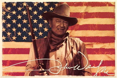John Wayne Flag Poster 36 x 24in