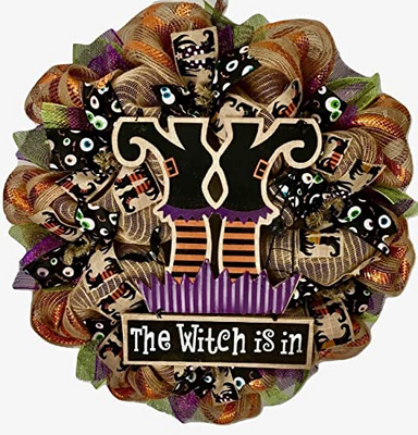 "Halloween Wreath The Witch Is In 24"" Black Purple Green and Orange Eyeball Ribbons Glittery Witch Hat Wreath"