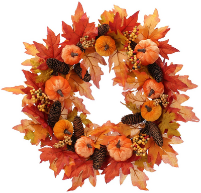 "Pumpkin Wreath 20"" Grapevine Pip Berry Stems Fall Chevron Bow Autumn Spray Modern Wreath Rustic Halloween Thanksgiving Housewarming Wreath"