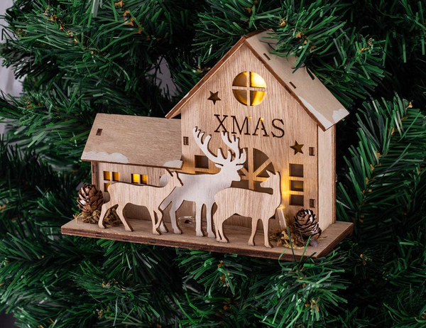 LED Light Wooden House Christmas Ornaments Xmas Tree Hanging Decor New Year decorations for home