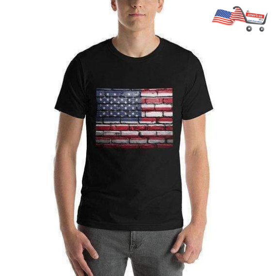 American Flag Painted Brick Wall Short-Sleeve T-Shirt