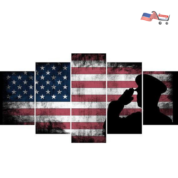 The Army Rangers Saluting  Military Art - Patriotic Rustic American Flag  Wall Art  Army Wall Decor- US Marines Navy Seals
