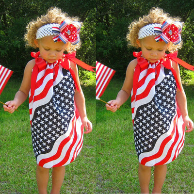 Baby Girls dresses fashion Infant Kids 4th Of July Star Strap Dress Clothes Sundress Casual Dresses summer baby girls clothing