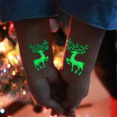 Christmas 2018 New Year Decoration 1Pc Noel Luminous Temporary Tattoo Stickers Christmas Decorations for Home Natal Home Decor.Q