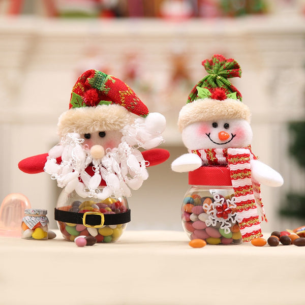 Christmas Decorations Cute Santa Claus Snowman Candy Jars Container Christmas Ornaments Kids Gifts Holiday Party Table Decor