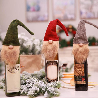 Christmas Red Wine Decoration Old Man Faceless Doll Wine Bottle Cover Home Dinner Party or Gift Christmas Bottle Wrap Ornament
