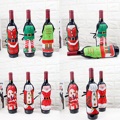 Christmas Santa Wine Bottle Apron Cover Wrap Xmas Dinner Party Table Decoration Gift Holders