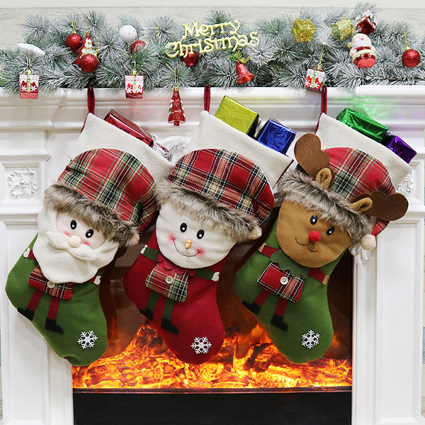 Christmas Stocking Gift Bag Noel  Reindeer Santa Claus Snowman  Socks natal Xmas Tree Candy Ornament Gifts Decorations New