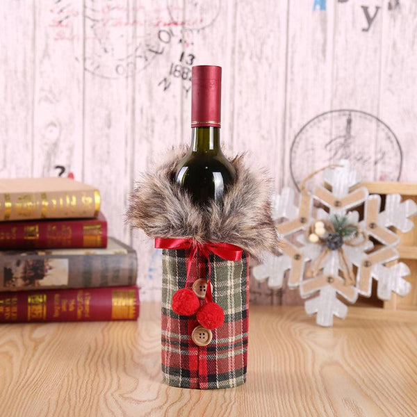 Christmas Wine Bottle Set Bow Button Clothes Style Bottle Cover Kitchen Supplies For New Year Christmas Dinner Party Decoration