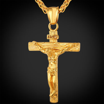 Collare INRI Crucifix Cross Necklace Gold/Rose Gold/Black Gun Color 316L Stainless Steel Chain For Men Jewelry Jesus Piece P166