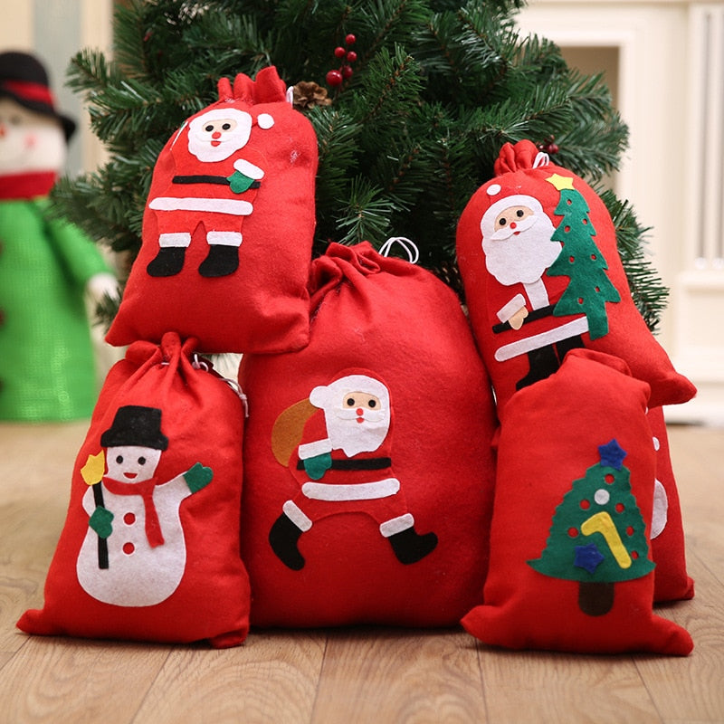 ... Cute Christmas Gift Bags Santa Claus Snowman Big Backpack Kids Banquet Xmas  Gifts Holders Bag Home 17b4d59b0295