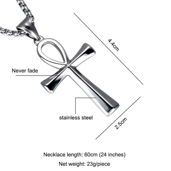 D&Z Religion Egyptian Ankh Crucifix Necklaces & Pendants Stainless Steel  Symbol of Life Cross Necklace Jewelry Gift