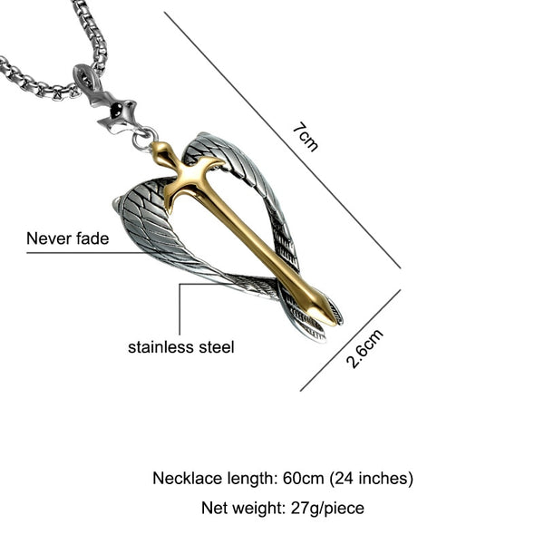 D&Z Religious Gold Cross Pendant Necklace Stainless Steel Silver Angel  Wings Soul Crucifix Necklaces for Christian Jewelry