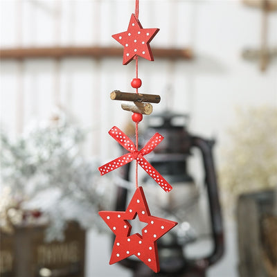 DIY Red Christmas Snowflakes&Star&Tree Wooden Pendants Ornaments Home Christmas Party Xmas Tree Kids Gifts Decorations