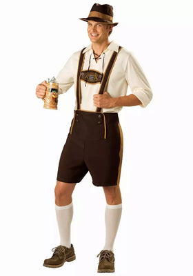 Family Oktoberfest  Lederhosen with Suspenders Costume For Man Woman Kid Couples Halloween Costumes Party Size S M L XL XXL