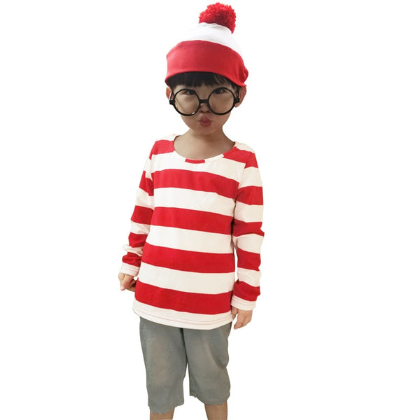 Family Where's Wally Costume For Man Woman Kid Couples Halloween Christmas Party Cosplay Size S M L XL XXL