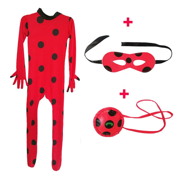 Fantasia Kids Adult Lady Bug Costumes Girls Women Child Spandex Ladybug Costume Jumpsuit Fancy Halloween Cosplay Marinette Wig
