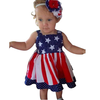 Fashion Kids Baby Girl Toddler Baby Kids New Independence 4th Of July Star Stripe Dress Party Princess Dresses vestidos A1