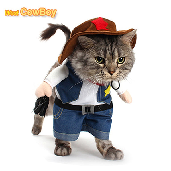 Funny Pet Costume Cowboy Cosplay Suit For Cats Halloween Christmas Clothes For Dogs Party Dressing Up Dog Clothing Cat Apparel