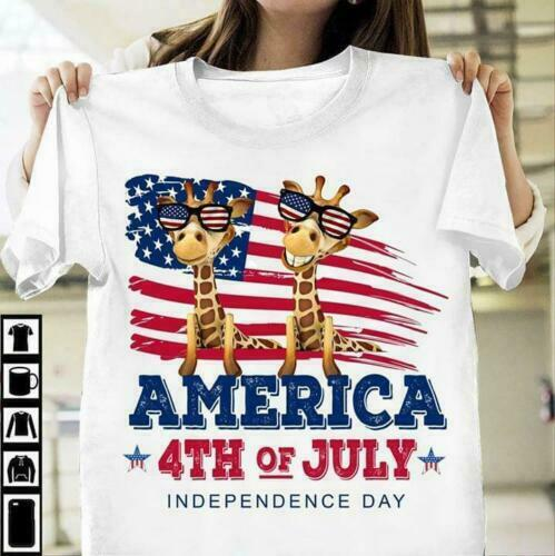 Giraffe America 4th Of July Independence Day Men T-Shirt Cotton S-3XL