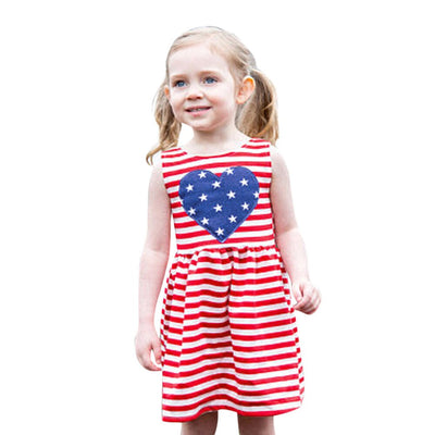 Girls Clothing Summer Girl Dress Baby Girls Infant Kids 4th Of July Star Dress Clothes Sundress Casual Dresses dropshipping