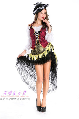 Halloween Disney couples men and women with the pirates of the Caribbean Latin dance skirt installed COSPLAY costume