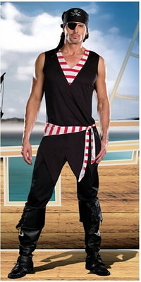 Halloween Men or Women Adult Couples Lovers Caribbean Pirate Costumes Uniform Fancy Dress Red Stripe Witch Devil Cosplay Costume
