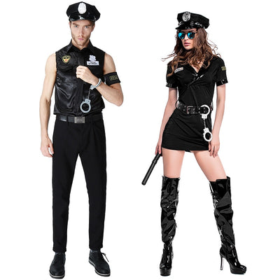 Halloween New Sexy Black Couples Masquerade Costume Police Game Uniforms Role-playing Men Women Outfits Cosplay Fancy Clothes