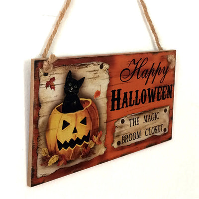 Halloween Ornaments Wooden Pumpkin Pendant Door Hanging Happy Halloween Party Decoration Drop Shipping 8A15