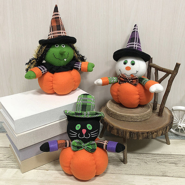 Halloween Witch Pumpkin Cat Decoration Home Ornament Plush Stuffed Doll Toys Decoration Gift Wholesale&Dropshipping