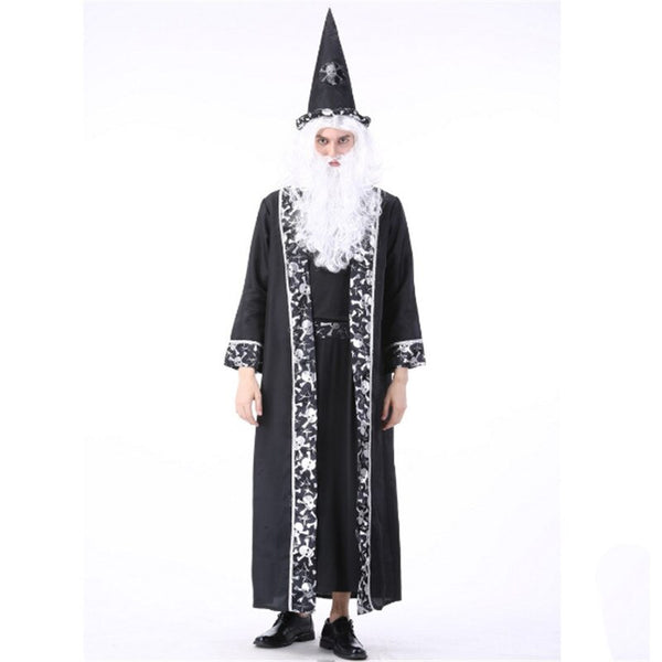 Halloween Costumes Scary Men.Halloween Grim Reaper Costume For Man Women Black Wizard Witch Ghost Couple Cosplay Clothing Scary Day Dead Costumes For Couple