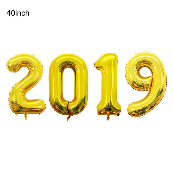 Happy New Year 2019 Number Letter Foil Balloons Champagne Wine Glass Cup Gold Pink Xmas Eve Party Supplies Helium Balon Set