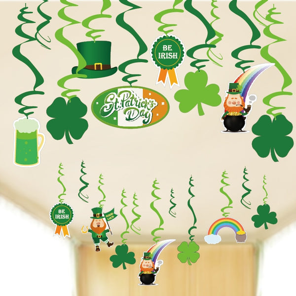 Happy St Patricks Day Party Decoration Set Latex Balloons Irish Green Shamrock Hanging Swirl Decor Photo Props Clover Backdrop