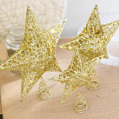 Hollow Star Cute Gold Powder Christmas Star Christmas Tree Toppers 15/20cm For Christmas Tree Ornaments Xmas Decor Supplies