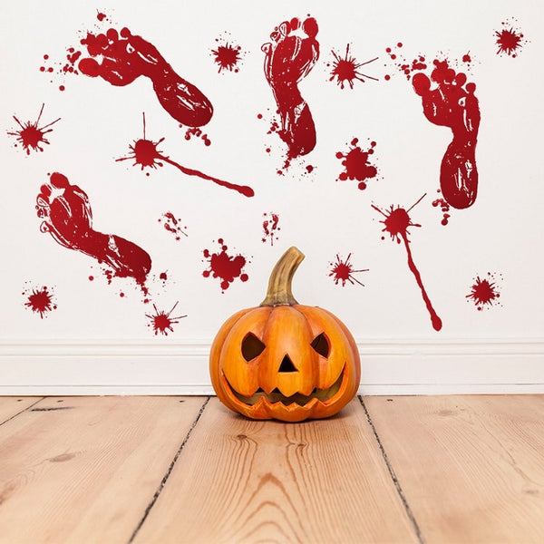 Horror Halloween Decoration Wall Stickers Bloody Fingerprint Blooding Handprint Foot 3D Wallpaper Waterproof Floor Door Decor