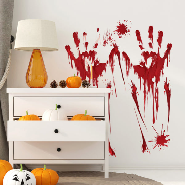 Horror Halloween Decoration Wall Stickers Bloody Fingerprint