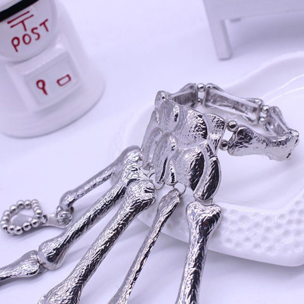 Hot Sales Halloween Props Gift Fun Nightclub Party Punk Finger Bracelet Gothic Skull Skeleton Bone Hand Finger Bracelet