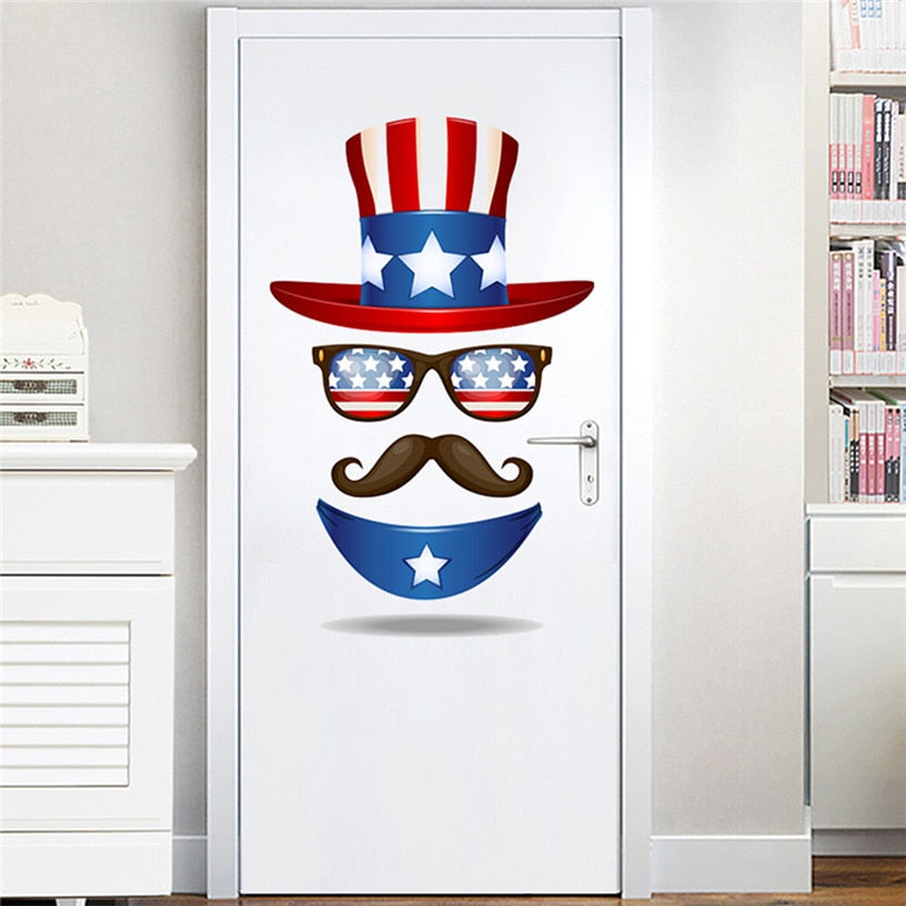 Independence Day Decor Hat Beard Vinyl DIY wall sticker living room for home interior decoration wallpaper July 4th Decor 0527#