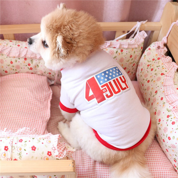 Independence Day Small Dog Shirt Puppies Clothes Printed 4th Of July Dog Shirts Dogs Pets Clothing For Chihuahua Bichon Hiromi E