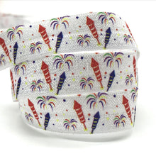 July 4th Fireworks Owl USA Hearts Print Fold Over Elastic FOE Ribbon For Headbands Diy Sewing Decoration Accessories 10yard 15mm