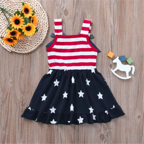 July 4th Toddler Baby Girl Dress American Flag Stars Striped Dresses Baby Kid Summer Bow Ruffle Dress Party Vestidos Robe Fille