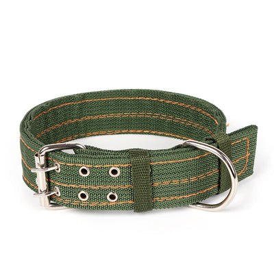L/XL Strong Canvas Nylon Dog Collar Army Green Double Row Adjustable Buckle Pet Collar For Medium Large Dogs