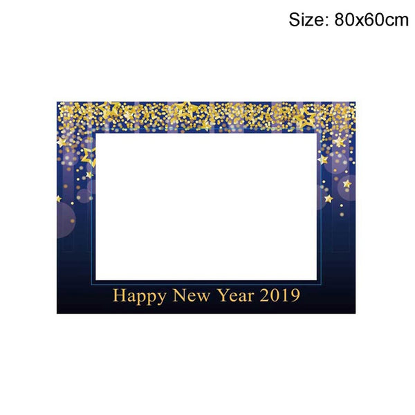 Happy New Year Balloons Photobooth Props Funny Mustache Happy 2019 New Year Eve Photo Booth Props Christmas Decorations